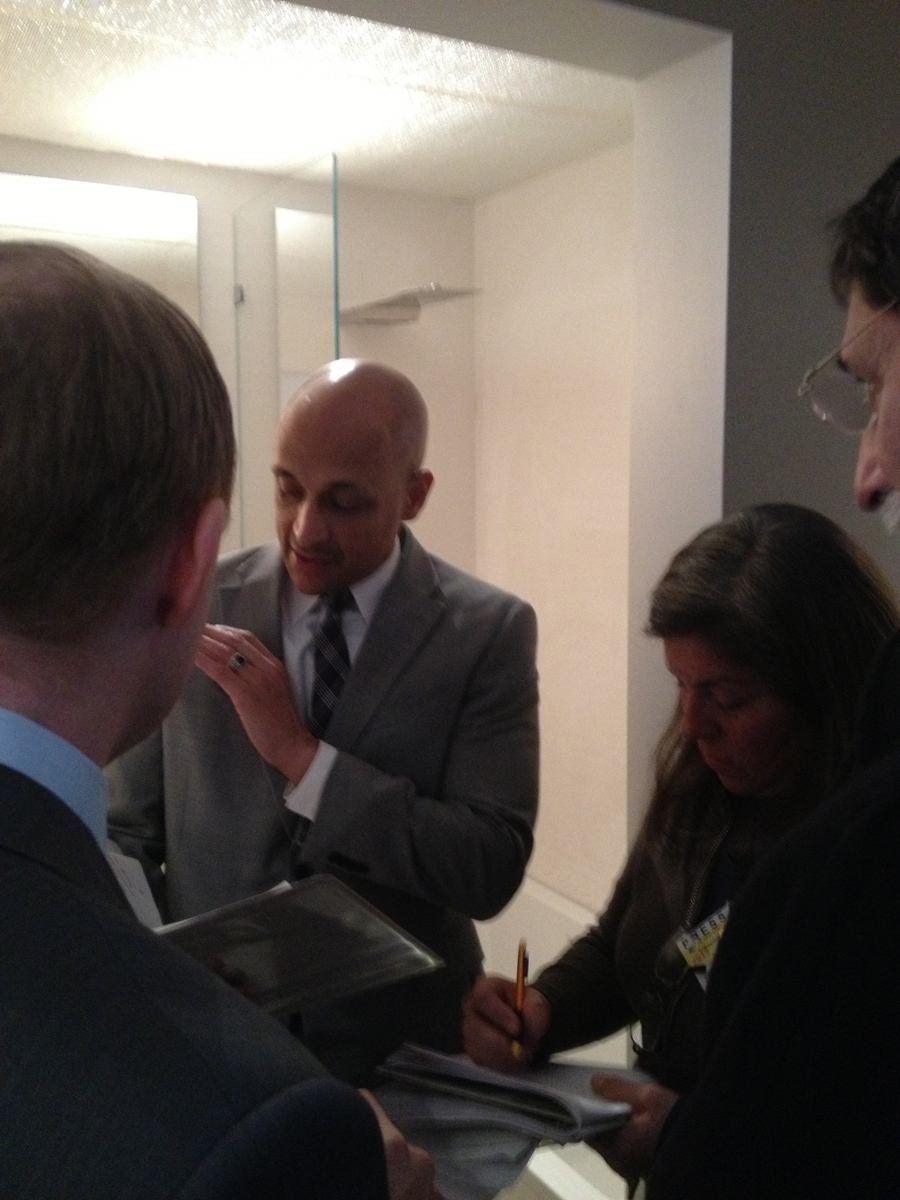 NYC Housing Preservation and Development Commissioner Matthew M. Wambua visiting Minimal USA's GLAM Bathroom at MCNY