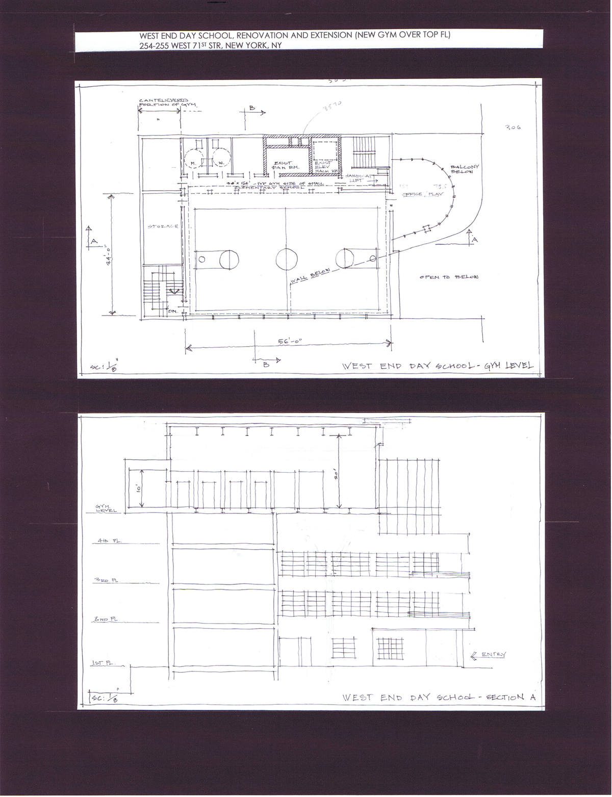Gym Floor Plan and Building Section