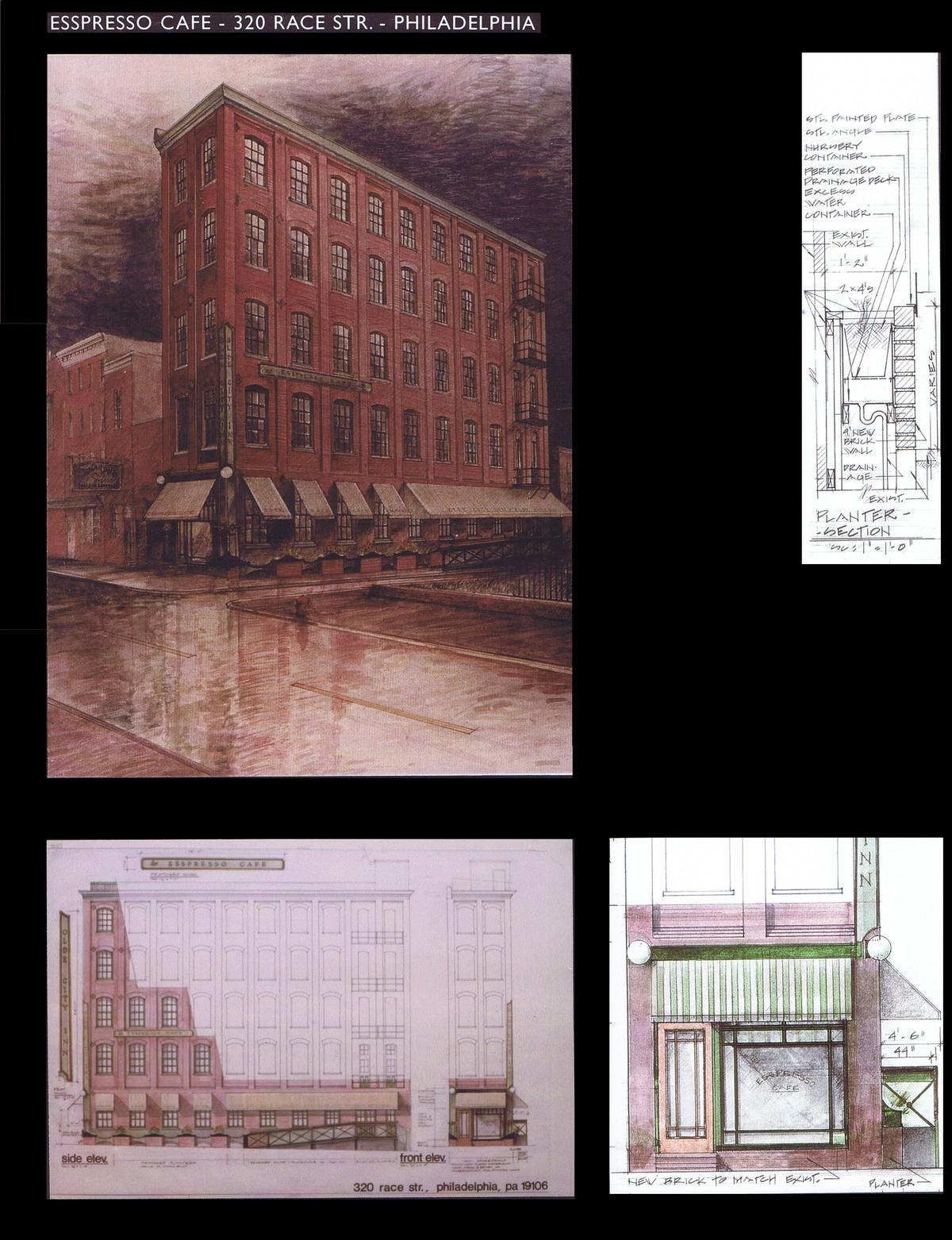 Perspective View, Elevations, Details