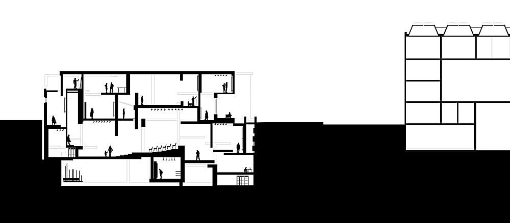 transverse section through Kunsthalle and adjacent British Art Center