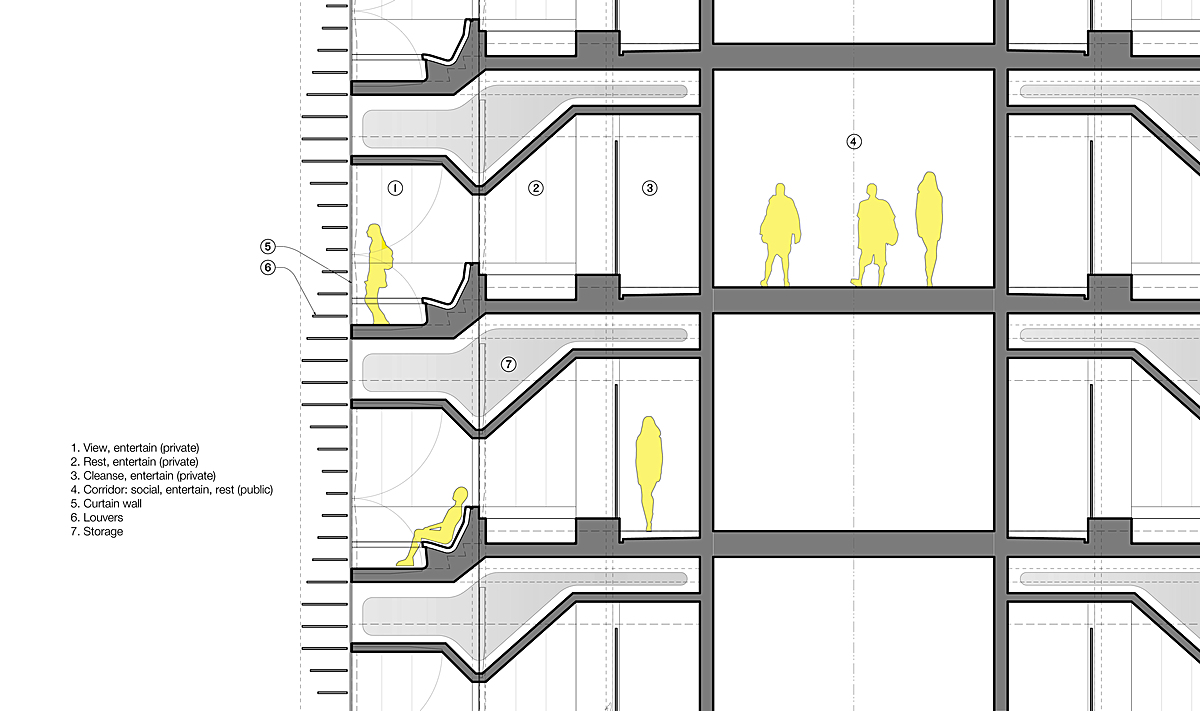 Partial tower section - schematic skin, hotel suites, corridor