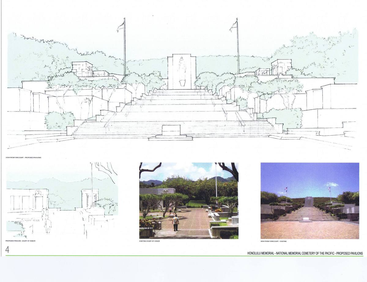 Proposed Vietnam War Exhibition Pavilions, photos of existing site and sketches of future Pavilions