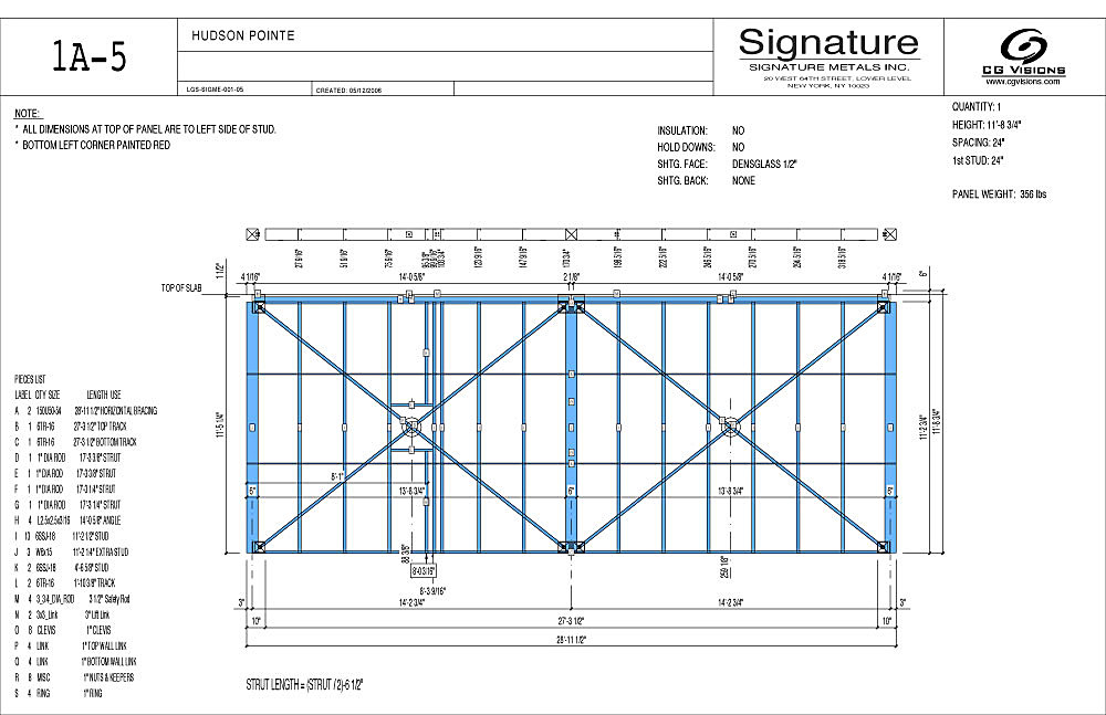 Shop drawing for steel wall panel