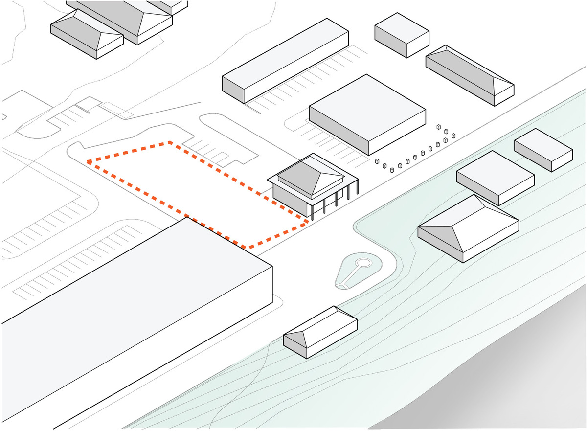 Diagram: context buildings + site. Illustration courtesy of Trahan Architects