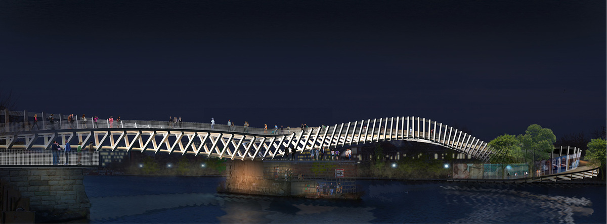 Second-Prize entry: Berlin Contemporary Bridge by Ra+b-Design. Image courtesy of Ra+b.