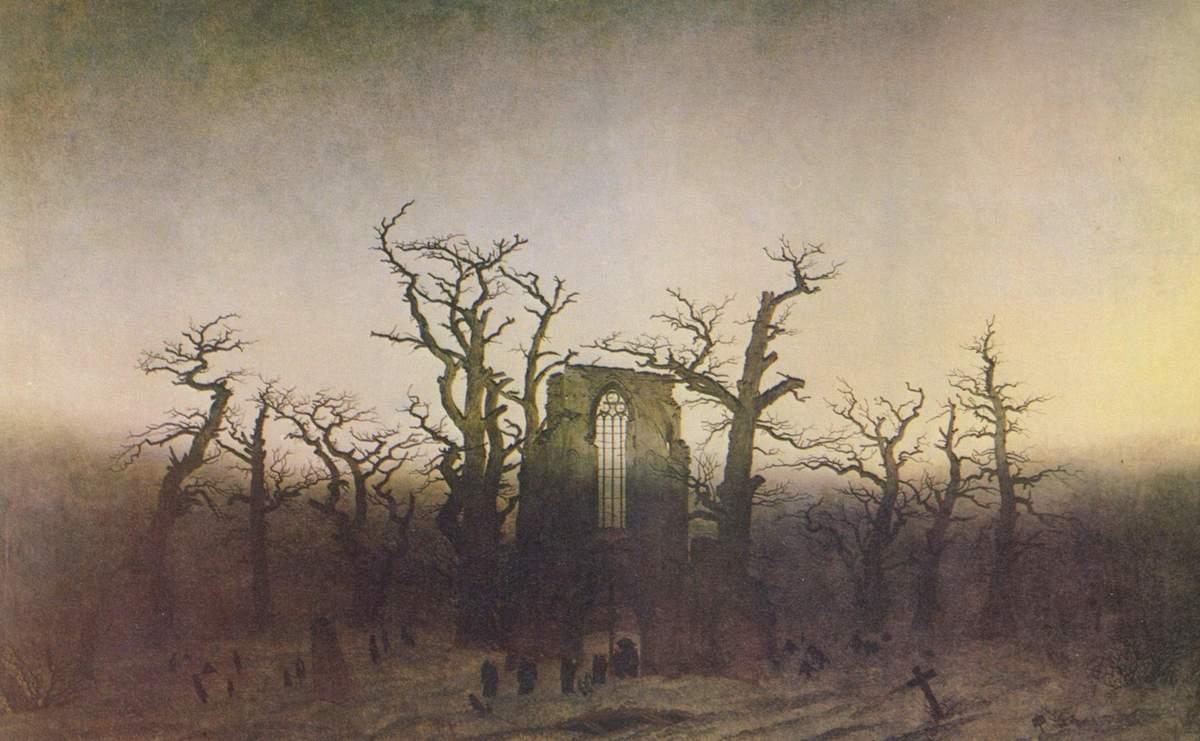 The Abbey in the Oakwood by Caspar David Friedrich, 1809–10, based on the ruined Eldena Abbey in Germany.
