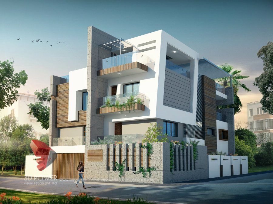 Modern Bungalow Front Elevation : D ultra modern bungalow exterior day rendering and
