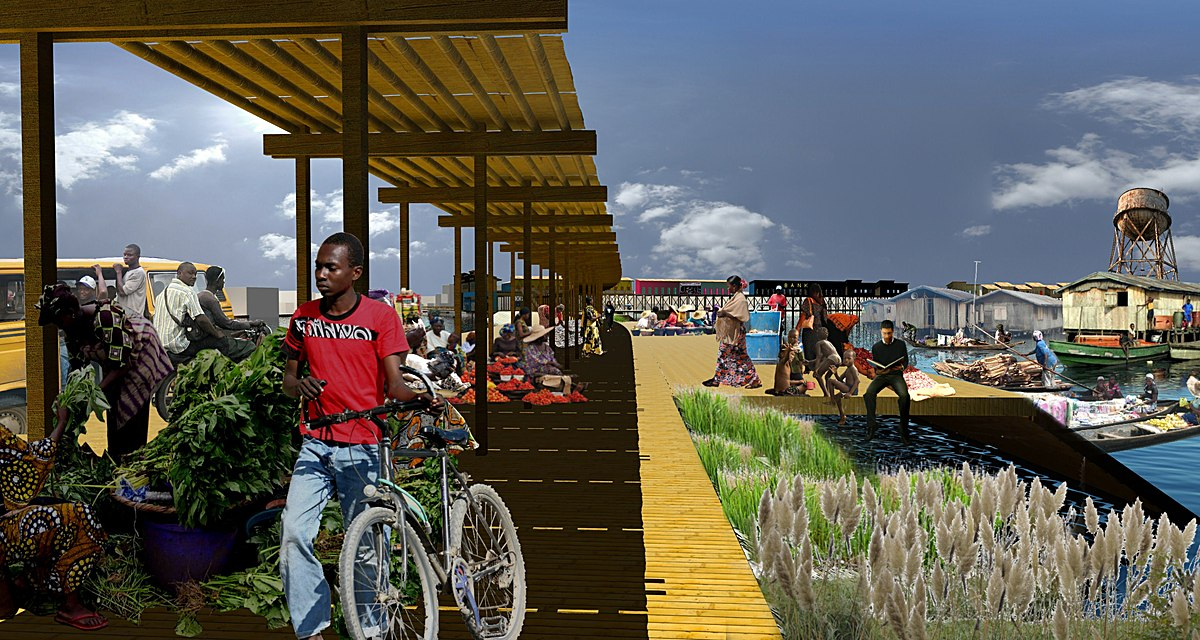 Proposed Market Street showing shaded market stalls, pedestrian walkway, and boat docking platform and stairs