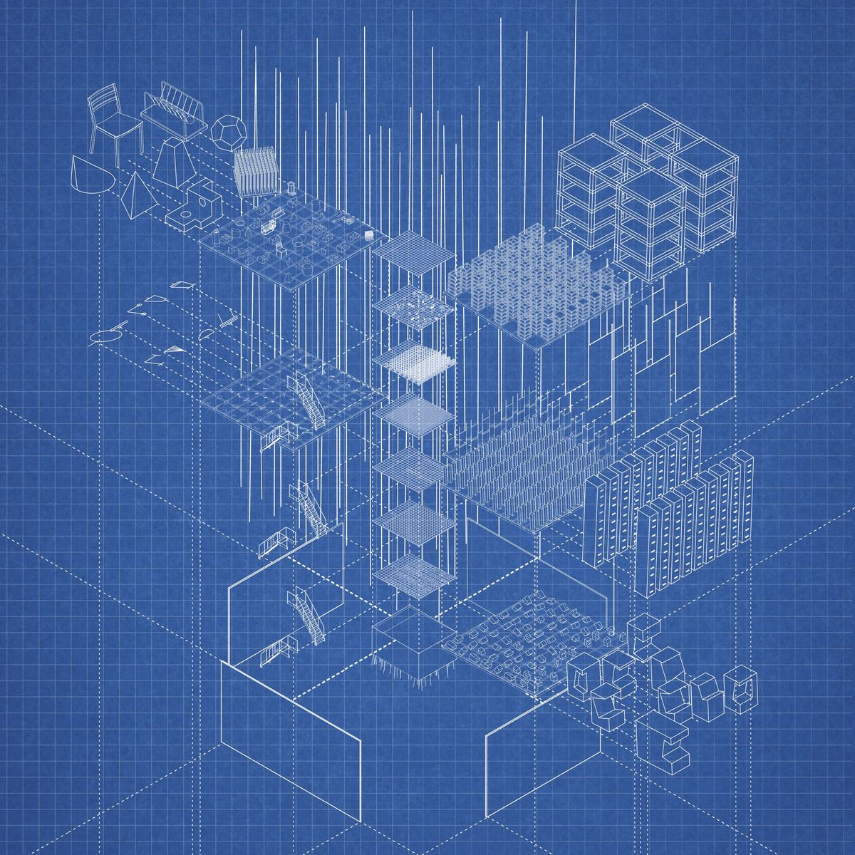 Arlington Archive: Exploded Axonometric by Laida Aguirre.