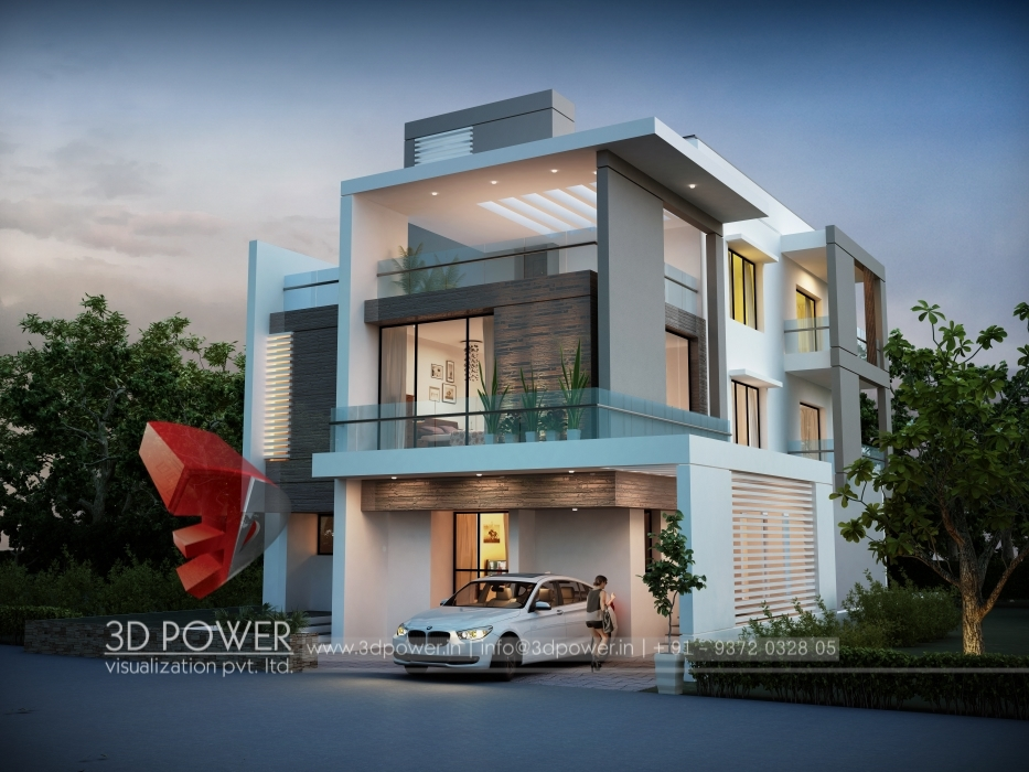 3d ultra modern bungalow exterior day rendering and for 3 floor house elevation designs andhra