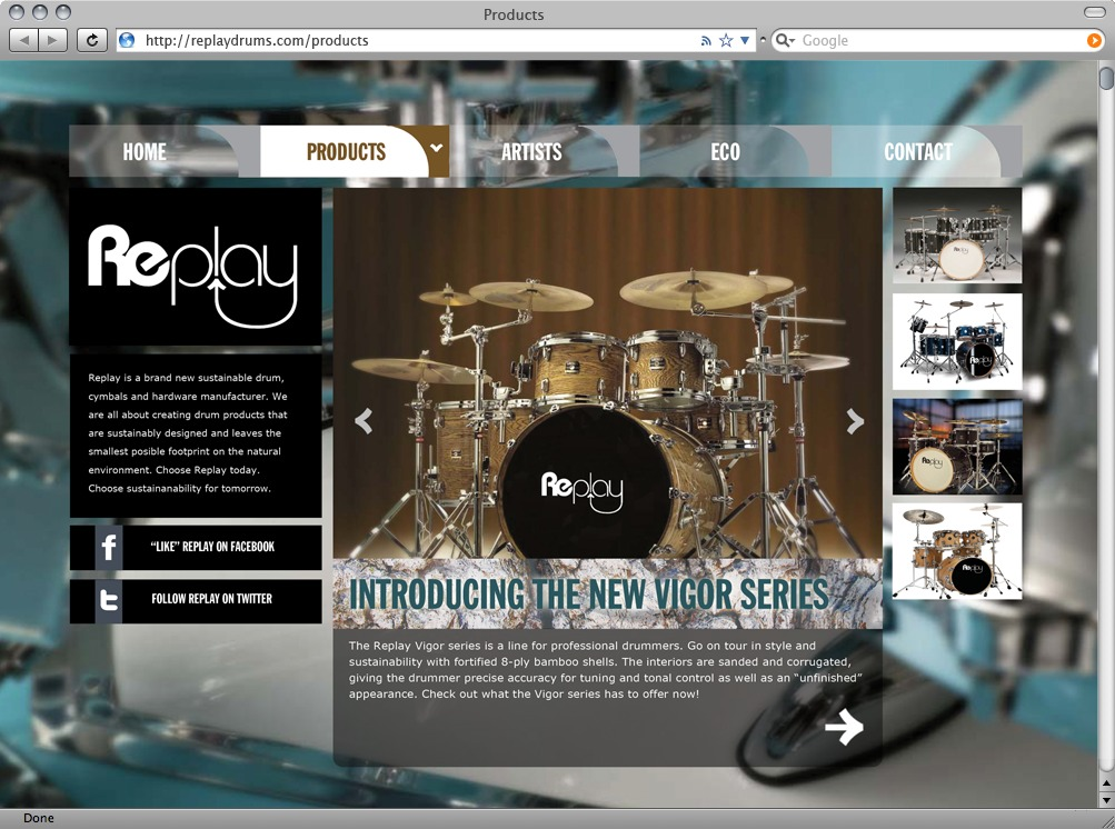 Products page displays diferent lines of drum kits.