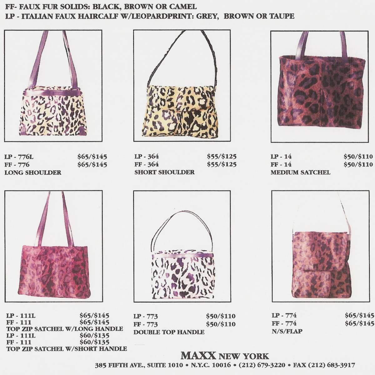 Handbag Catalog for Maxx Handbags