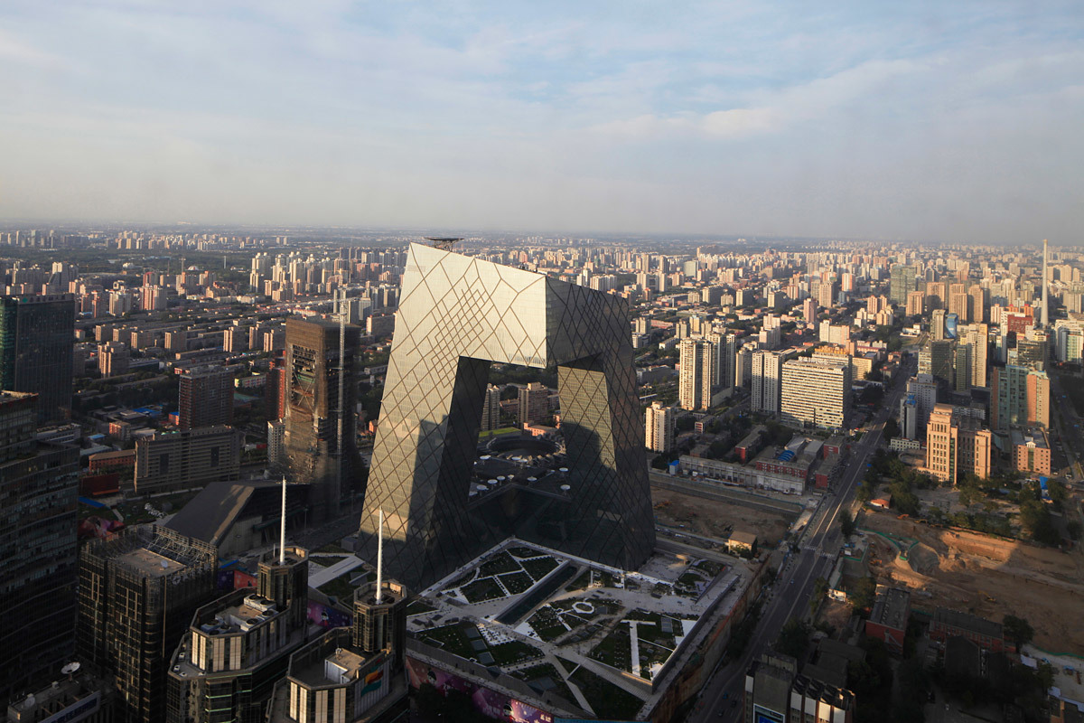 Aerial view of the OMA-designed CCTV headquarters in Beijing, China; Partners-in-charge: Rem Koolhaas and Ole Scheeren, designers, David Gianotten, photographed by Iwan Baan