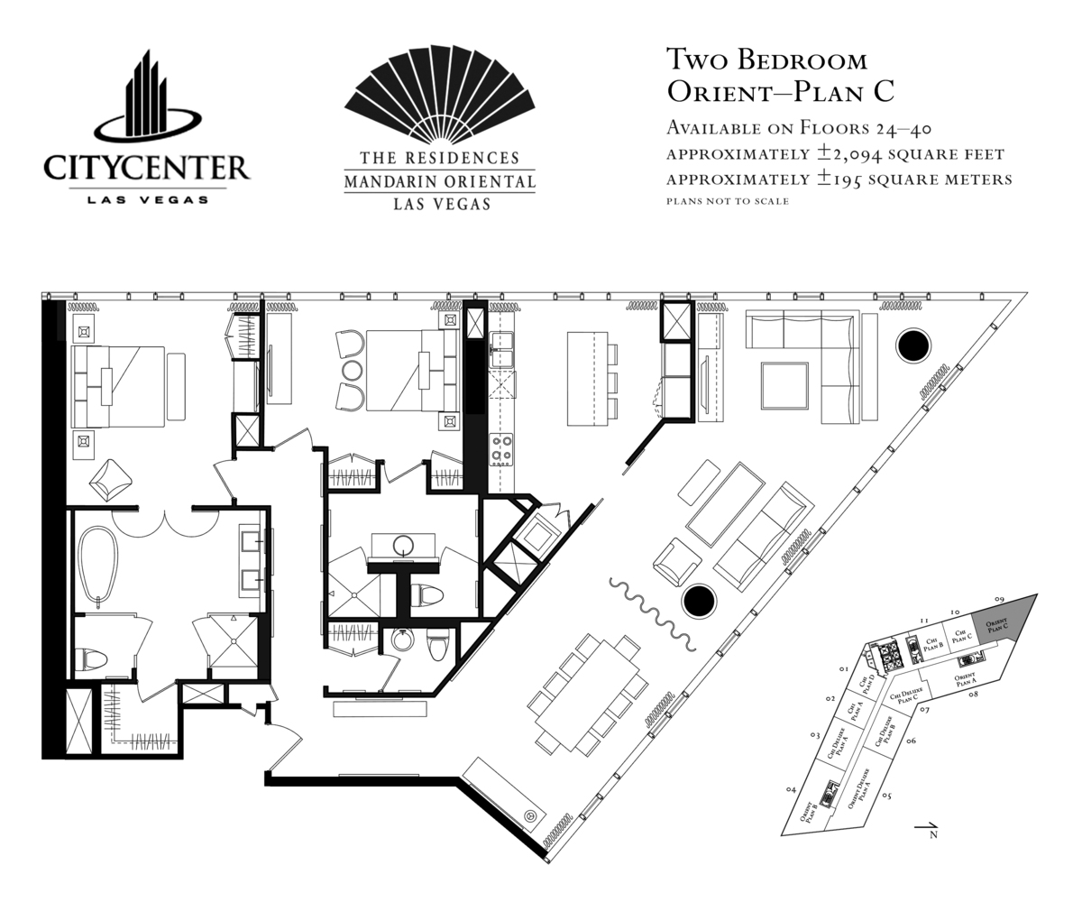 Project city center mandarin hotel and residence for Floor plan examples