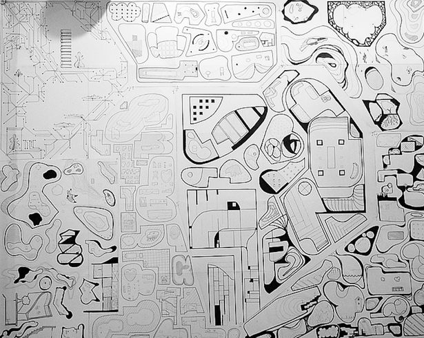 collaborative tiled drawing by 15 students from UK-COD and Jimenez Lai Lecture & Workshop