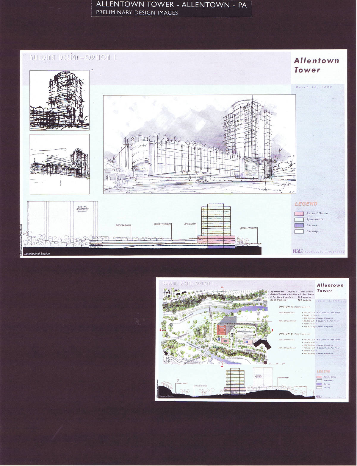 Perspective Sketch, Site Plan and Section, Option 1