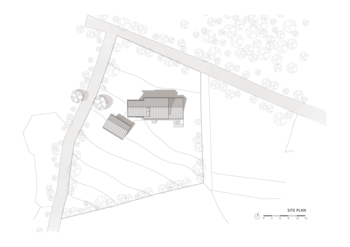 House of January, House on the Demarcation in Banwall-dong, Deokjin-gu, Jeonju-si, Jeonbuk, South Korea by studio_GAON (site plan)