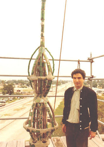 Orhan Ayyüce at top of Watts Tower via Orhan Ayyüce