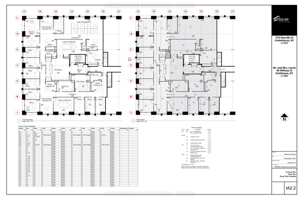 Furniture & Finish Plan Sheet - This Page Contains the Furniture Plan, Finish Plan, Finish Legend, and the Room FInish Schedule.
