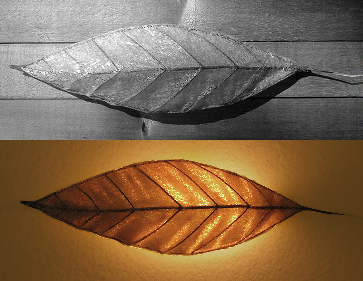 Leaf lamp #2: on and off views.