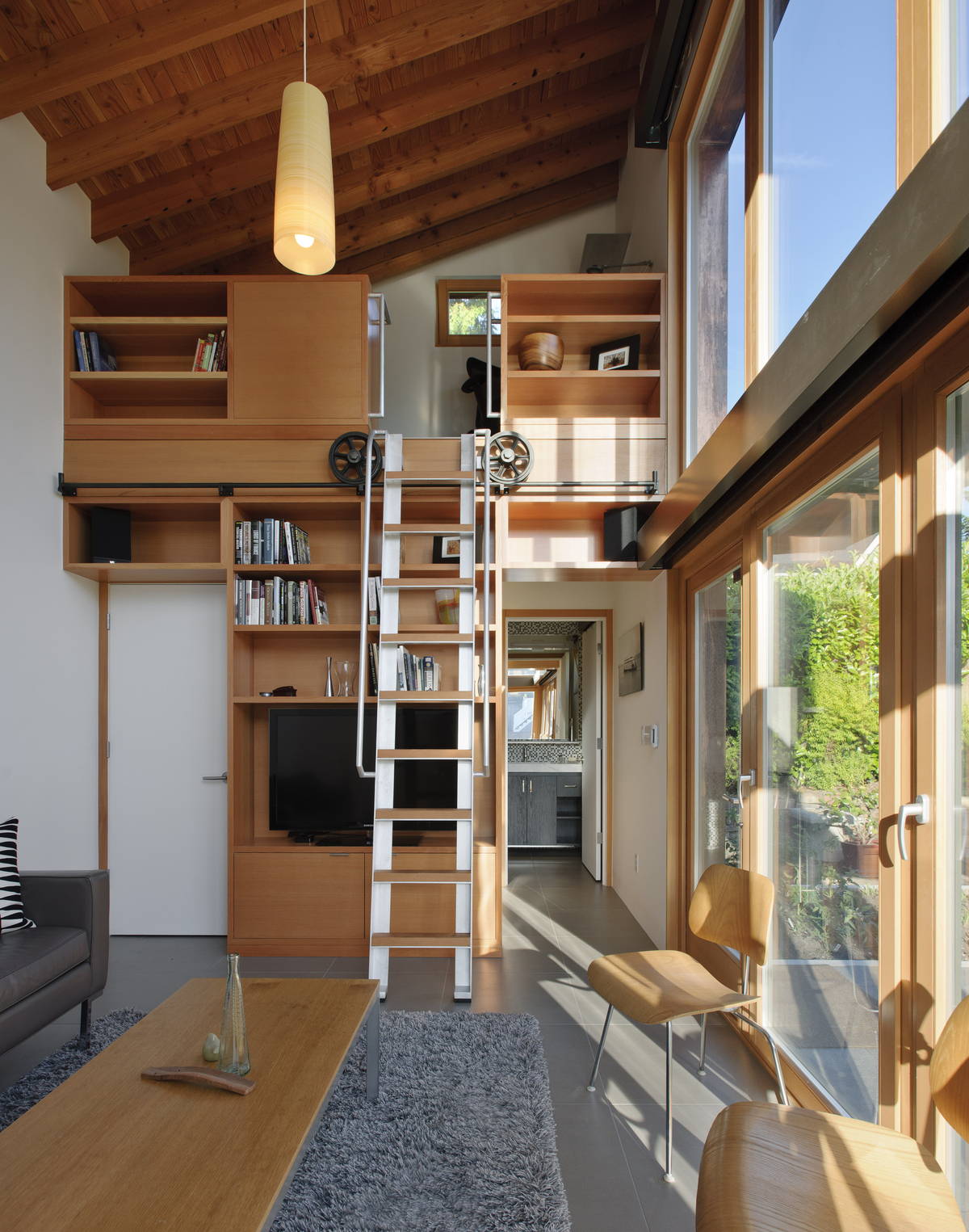 Looking at loft area accessible by ladder
