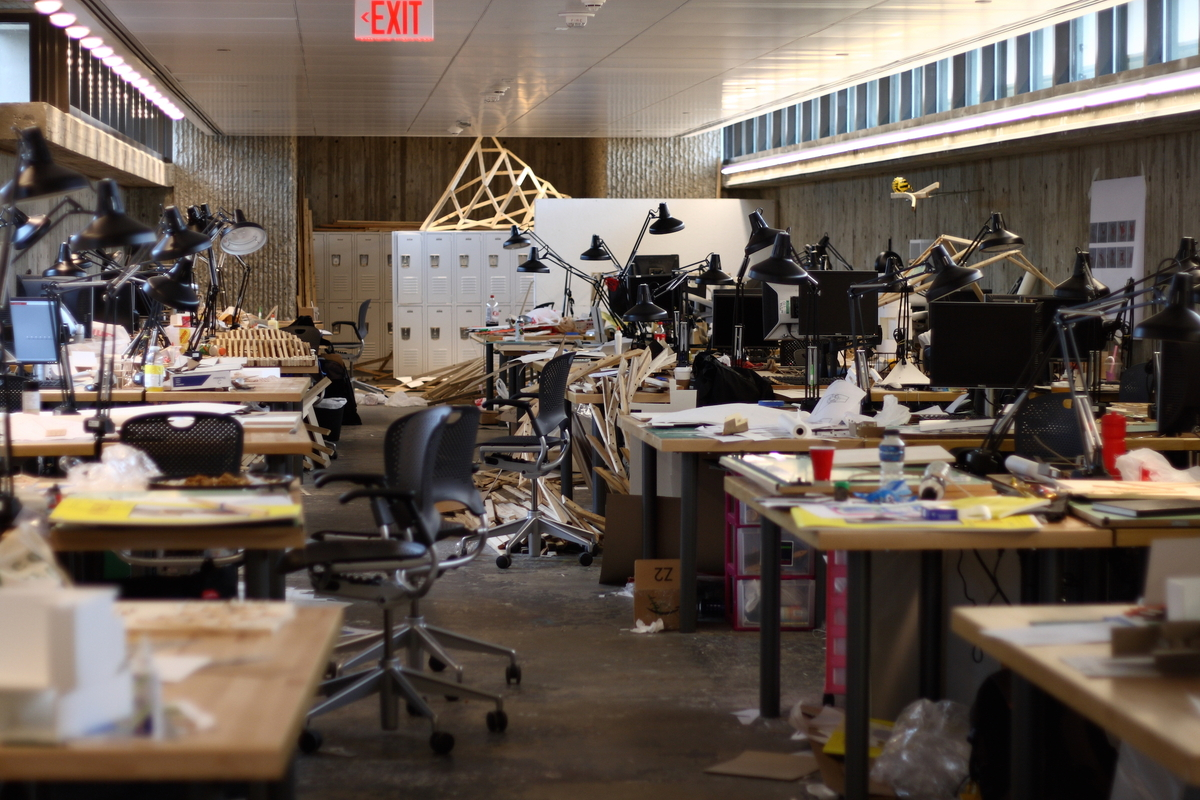 Architecture students' desks, 2008. Image via Wikipedia.org.