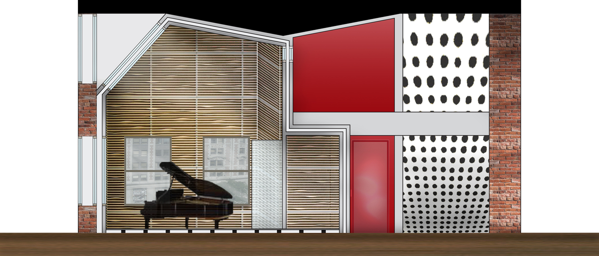 The double height studio space with engineered proportions is Studio A's main recording studio. It is fully equipped with acoustic wood paneling, a rubber shock absorbent floor, and triple pained windows, creating a solid acoustical barrier.