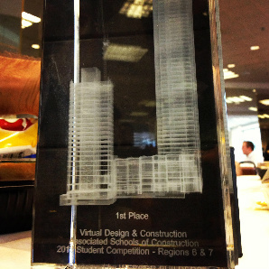 A NewSchool of Architecture and Design team won 1st place in the Virtual Design and Construction category at February 2013 ASC student competition.