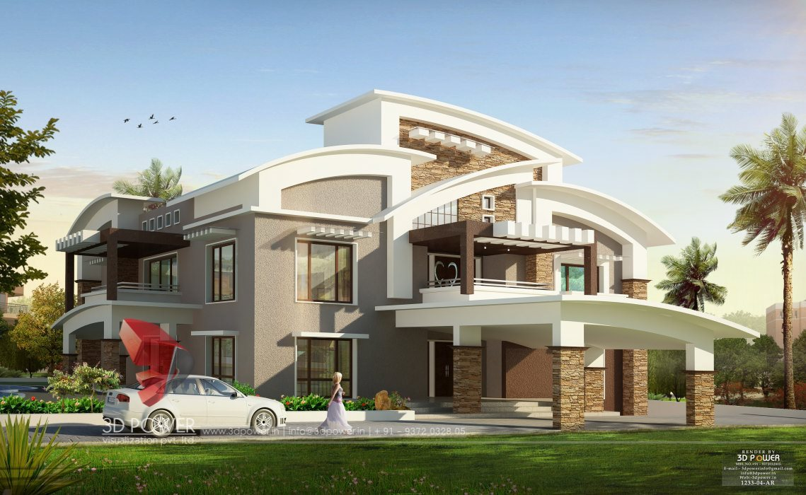 3d Modern Bungalow Exterior Day Night Rendering