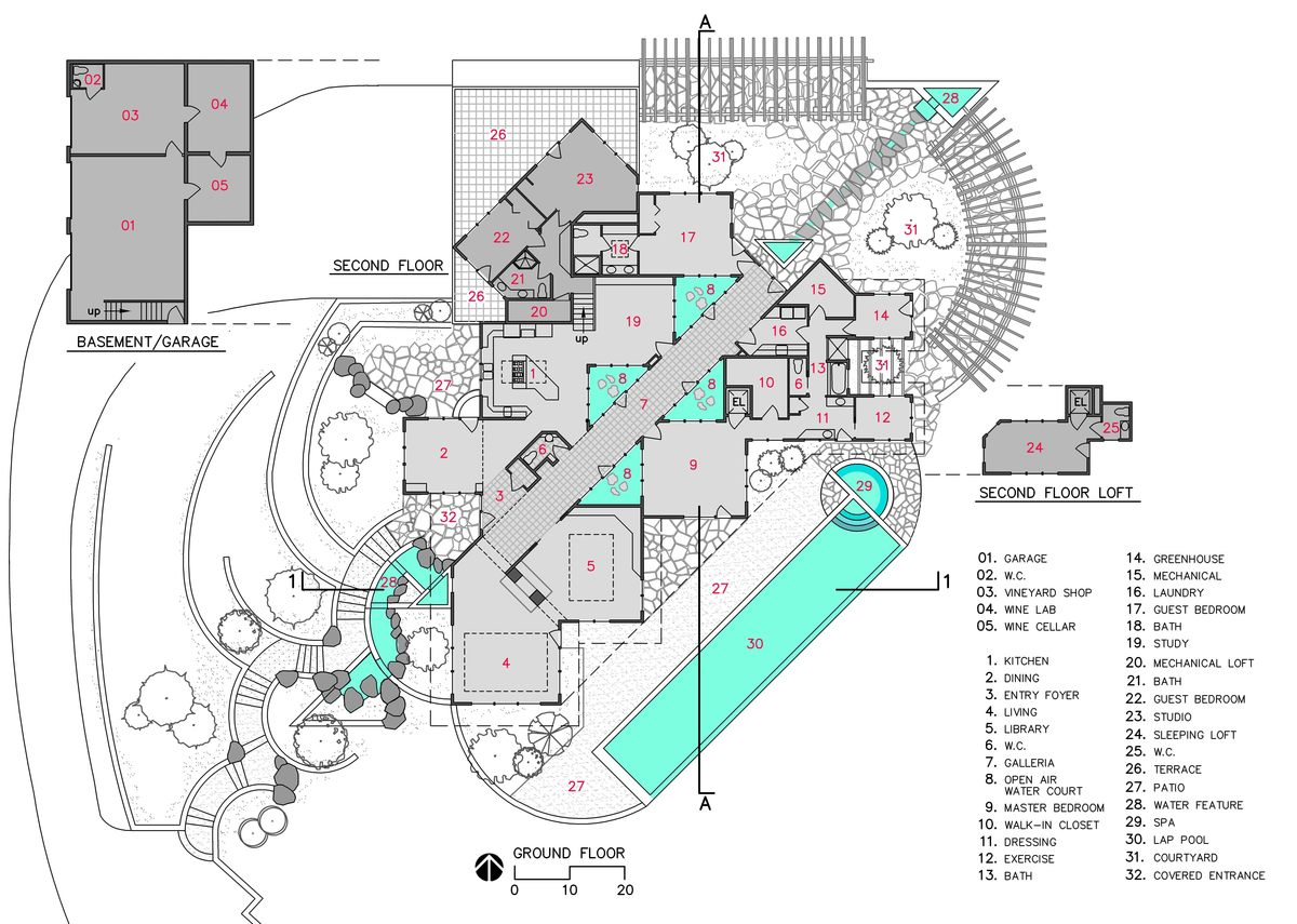 Paradox vineyard residence bruce richey architect aia for Winery floor plans by architects