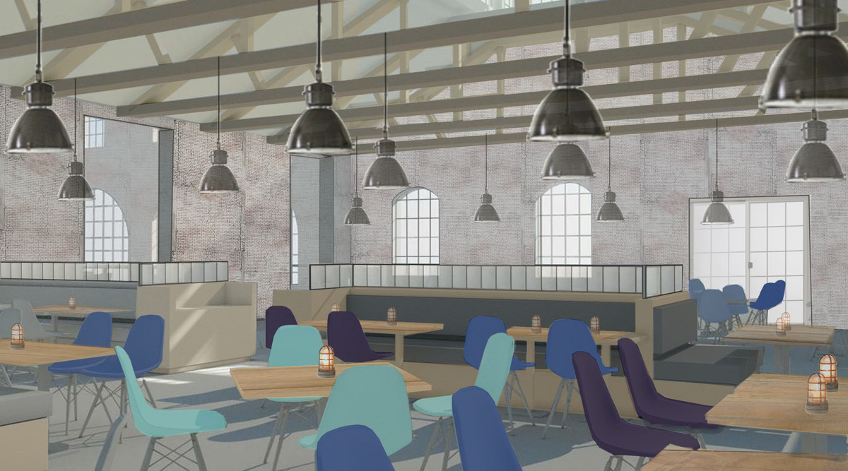 The restaurant color palette is a strong contrast to the bar. The color helps define the spaces as separate.