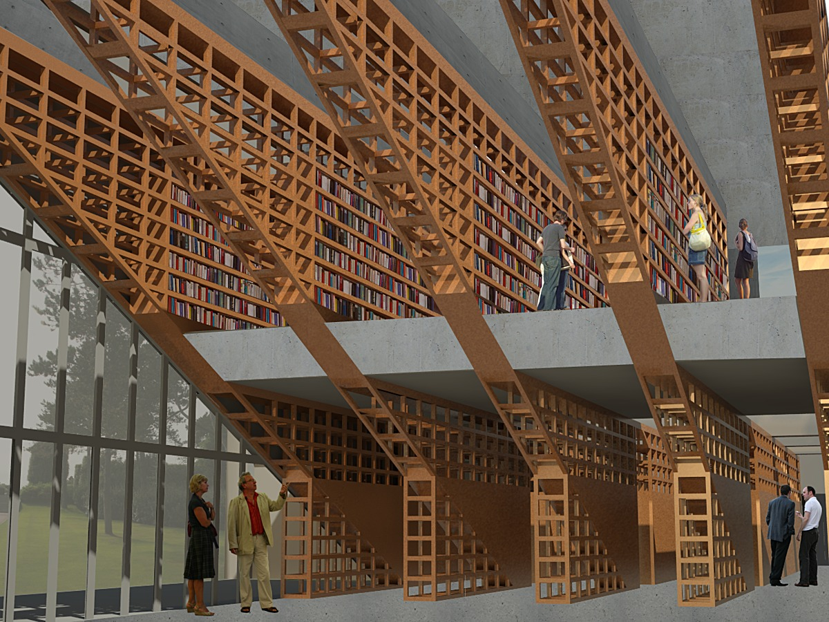 Interior rendering of structural wooden bookshelves.