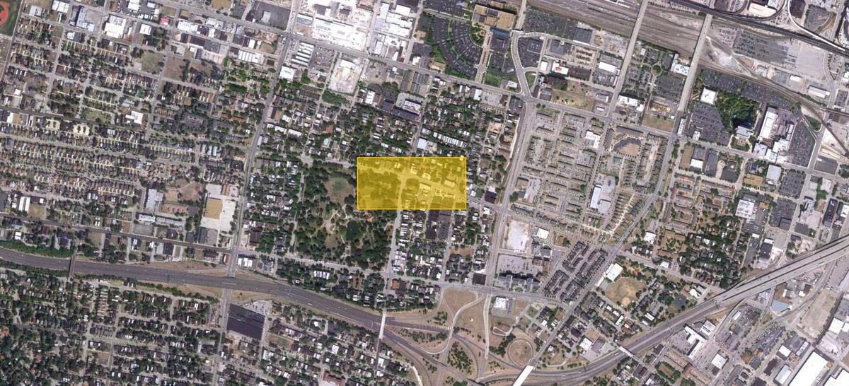 Satellite view of the Lafayette neighborhood.