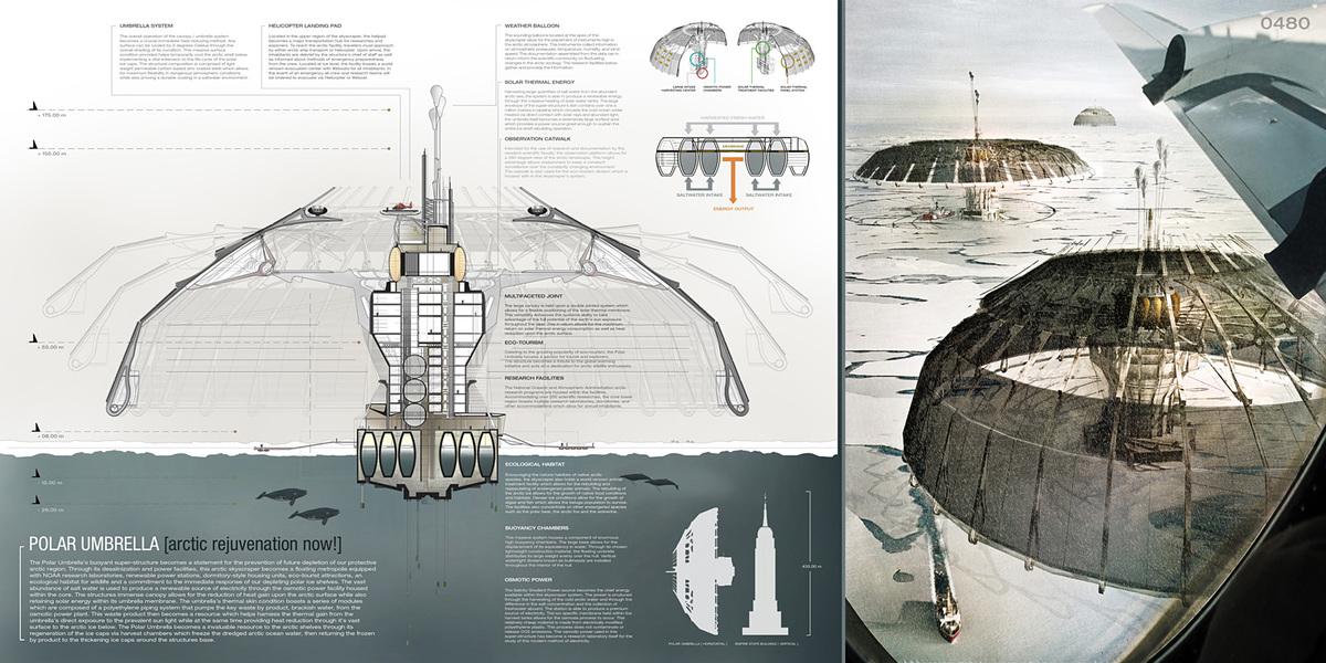 Evolo 2013 Skyscraper Competition-First Place- Polar Umbrella, Derek Pirozzi (United States)