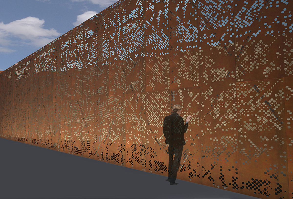 Perforated Corten Panels Conceptual Rendering