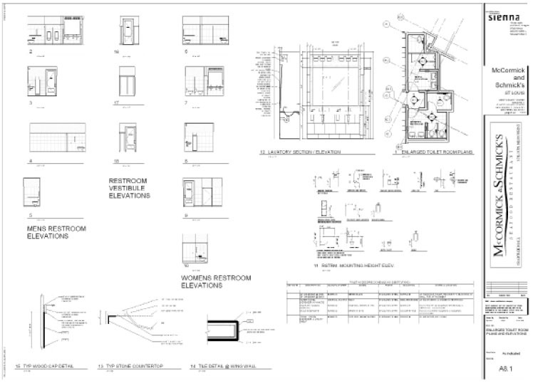 Sheet created using REVIT/BIM for McCormick & Schmicks