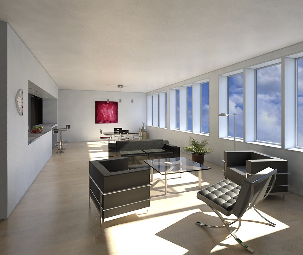 Daytime rendering showing living/dining