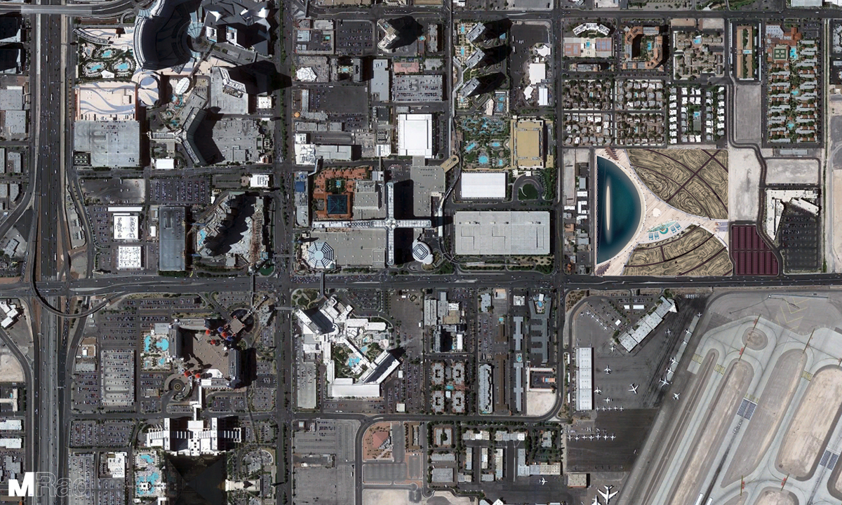 Google Earth view of Vegas Extreme next to Las Vegas Strip