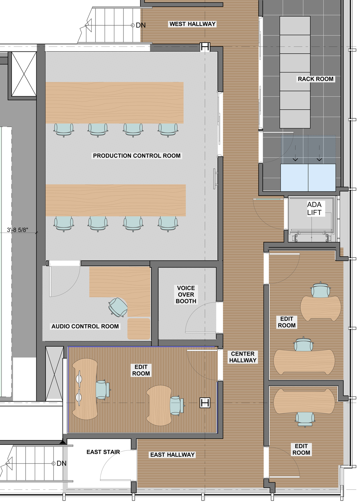 Control Room and Edit Room Plan Mezzanine
