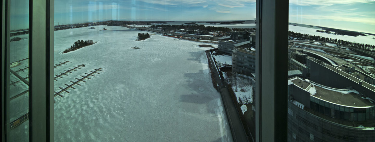 Panorama of Espoo from Kone Headquarters, note the frozen inner harbor and the open sea beyond.