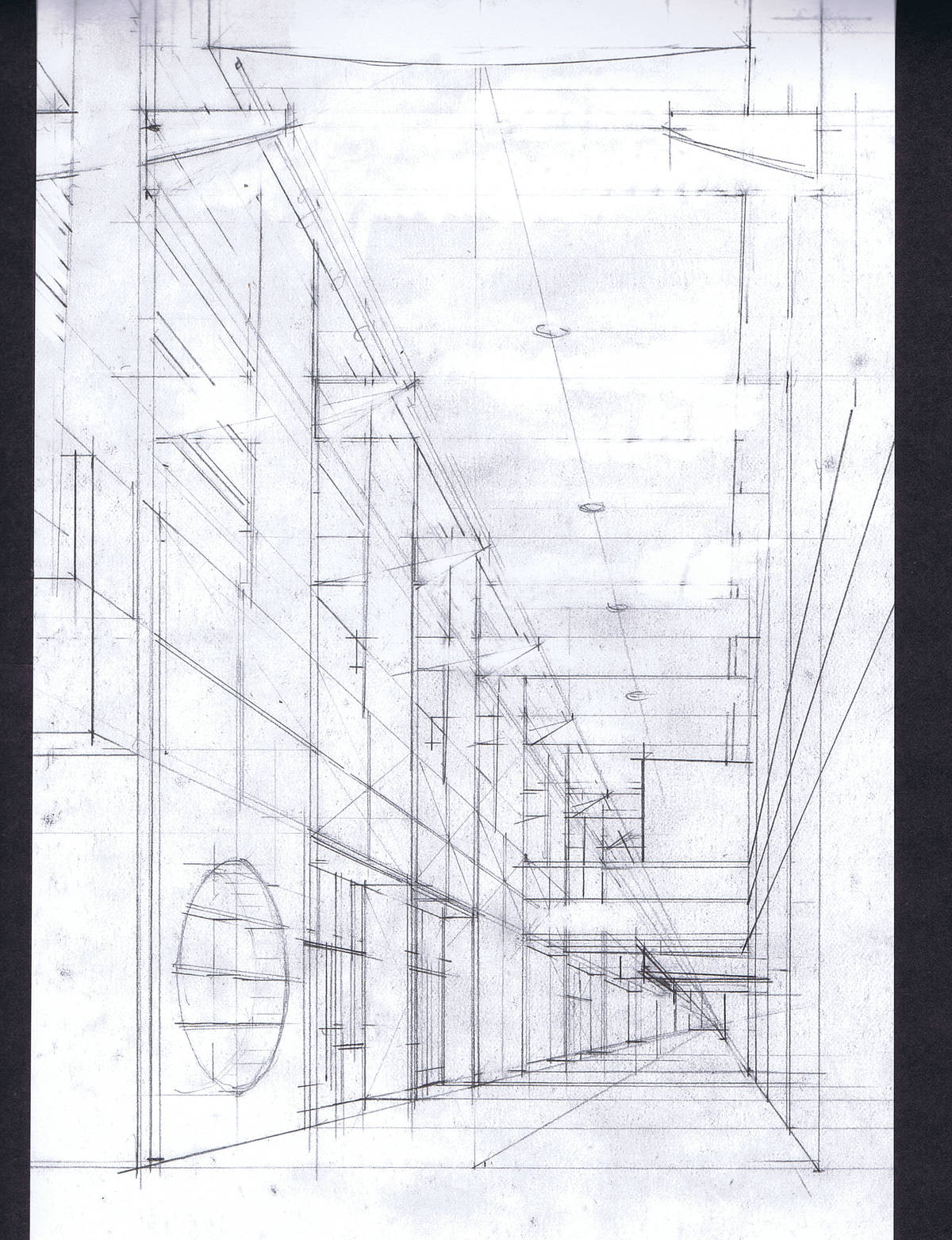 Perspective sketch of an interior main street