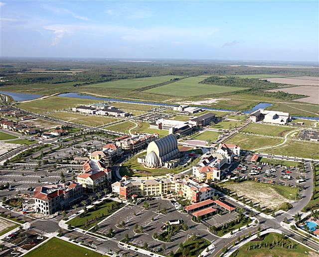 Aerial view of campus over Ava Maria Town Center and Oratory.
