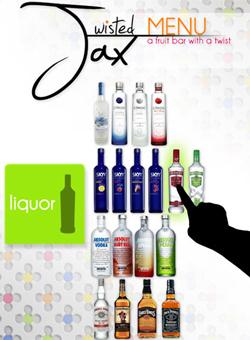 Twisted Jax Touch Screen Menu Close Up: Liquor Menu: Adobe Photoshop.