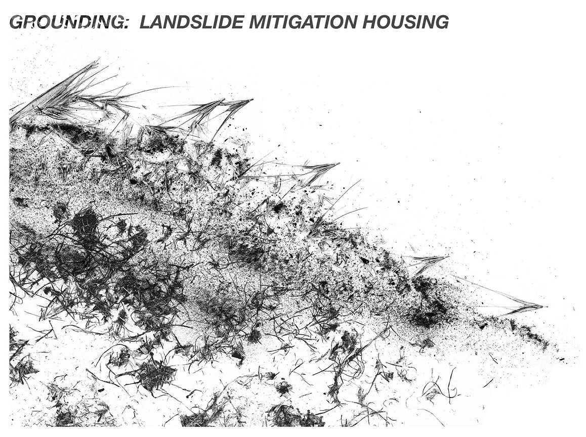 Conceptual drawing interpreting an assemblage of raw matter into a hillside scene.