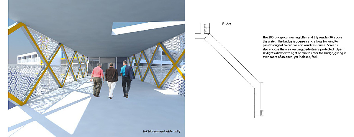200' pedestrian bridge connecting Ellen and Elly. Completely open-air design allowing for the least air resistance.