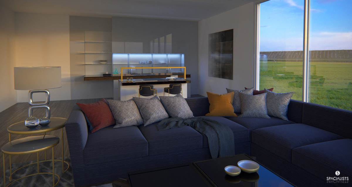 Sunset living kitchen 3d rendering spacialists 3d for Interior design staffing agency chicago
