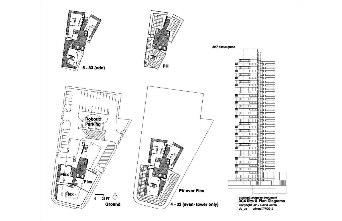 plan diagrams and south elevation- 88 unit version by David Curtis