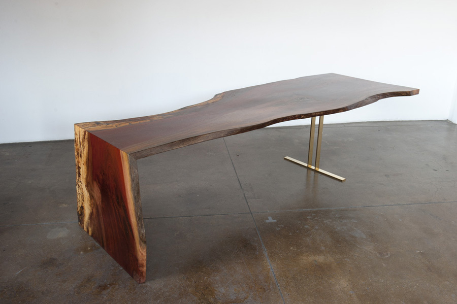 Indonesian Ingas Waterfall Table, Bronze Trestle Base ...