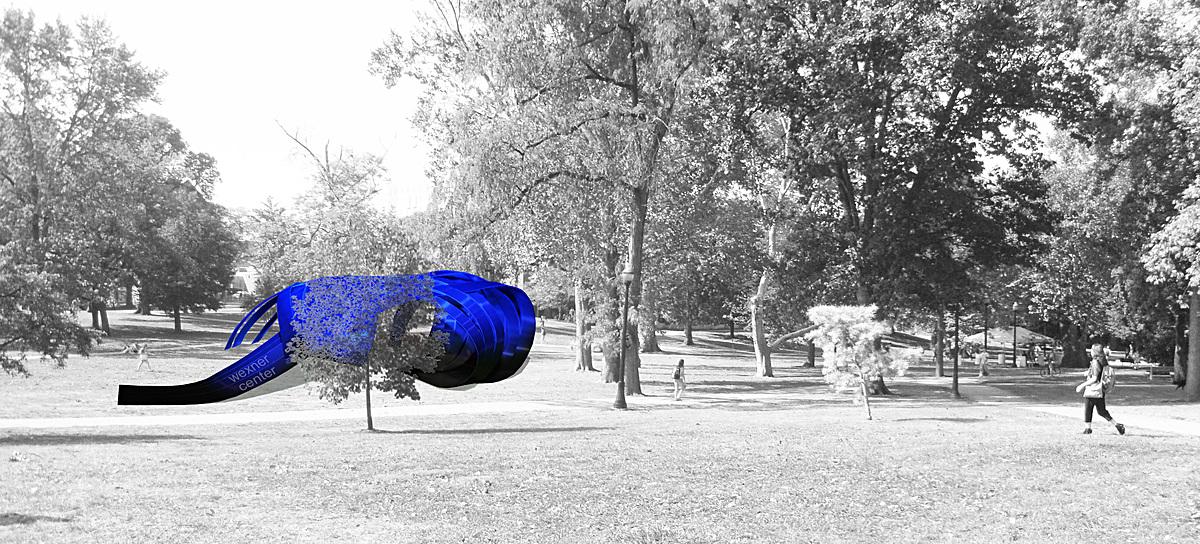 Render - Blue-lit Model in site