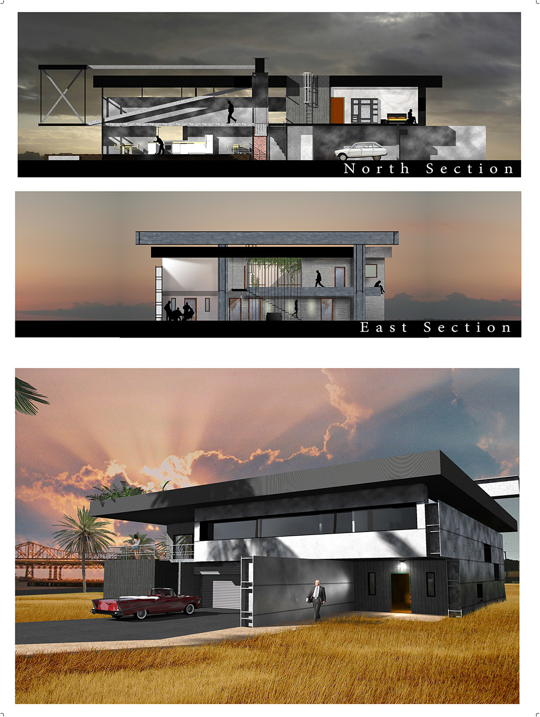 "Community Vote: The Bay Bridge House"" by Romain Caba (University of Kansas / National superior school of architecture of Paris Val de Seine, France). Image courtesy of Bay Bridge House."